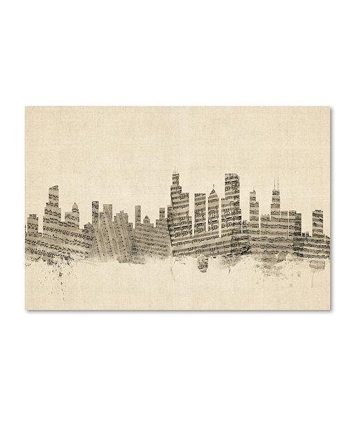 "Trademark Global Michael Tompsett 'Chicago Illinois Skyline Sheet Music' Canvas Art - 12"" x 19"""