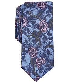 I.N.C. Men's Skinny Skull Blossoms Tie, Created for Macy's