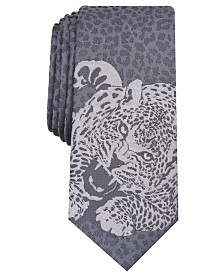 I.N.C. Men's Skinny Tonal Panther Tie, Created for Macy's
