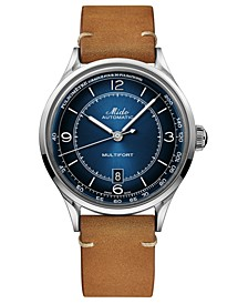 Men's Swiss Automatic Multifort Patrimony Pulsometer Brown Leather Strap Watch 40mm