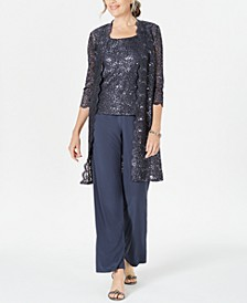 3-Pc. Sequined Lace Pantsuit & Jacket