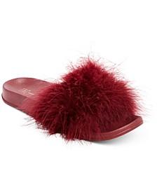 INC Women's Faux-Marabou Slide Slippers, Created for Macy's