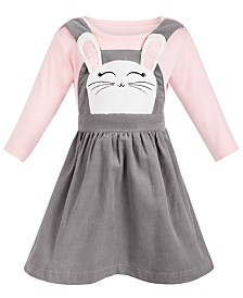 Blueberi Boulevard Baby Girls 2-Pc. Top & Corduroy Bunny Jumper Set