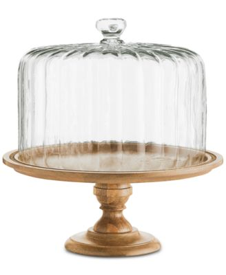 Wood Cake Stand with Clear Glass Dome, Created for Macy's