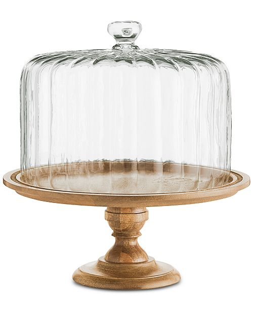 Martha Stewart Collection Wood Cake Stand with Clear Glass Dome, Created for Macy's