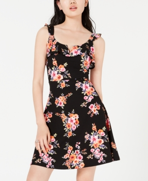 Almost Famous Juniors' Ruffle-Strap Fit & Flare Dress In Black Floral