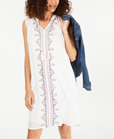 Style & Co Embroidered Tassel-Tie Dress, Created for Macy's