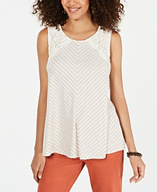 Striped Lace Sleeveless Top, Created for Macy's