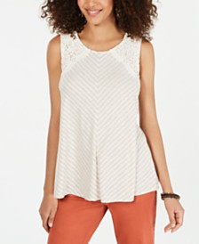 Style & Co Striped Lace Sleeveless Top, Created for Macy's