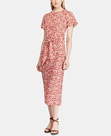Floral-Print Keyhole Crepe Dress