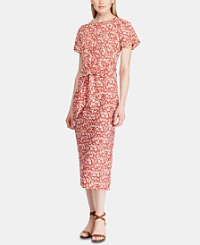 Lauren Ralph Lauren Floral-Print Keyhole Crepe Dress