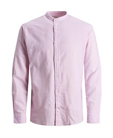 Jack & Jones Men's Mandarin Collar Linen Shirt