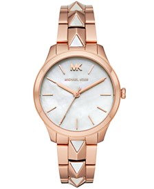 Michael Kors Women's Runway Mercer Rose Gold-Tone Stainless Steel Bracelet Watch 38mm