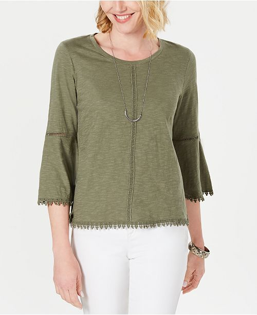 Crochet-Trim Bell-Sleeve Top
