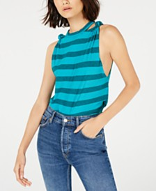 Free People Striped Twist-Shoulder Cotton Tank Top