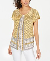 57bd1f7ee75 Style & Co Printed Pleated Scoop-Neck Top, Created for Macy's