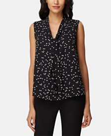 Tahari ASL Dot-Print Tie-Neck Top