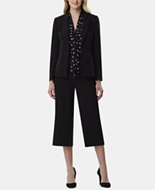 Tahari ASL Double-Breasted Blazer & Pull-On Pants