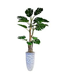 "Laura Ashley 91.5"" Tall Monstera Faux decor with Burlap Kit in Resin Planter"