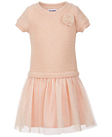 Blueberi Boulevard Little Girls Sweater-Knit Glitter Dress
