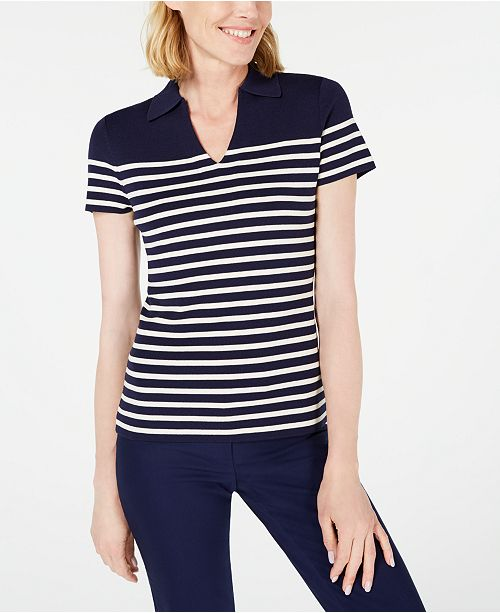 Anne Klein Striped Collared Sweater