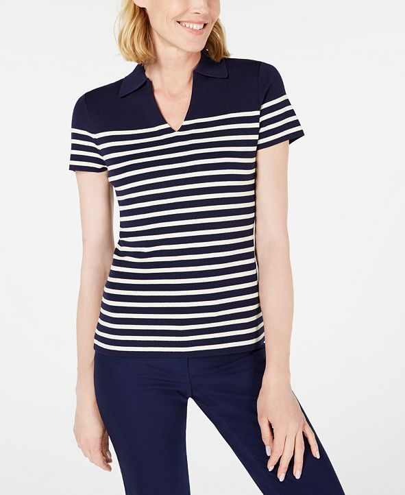 Anne Klein Striped Collared Sweater