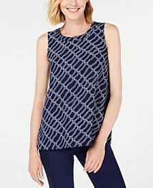Anne Klein Printed Sleeveless Tunic Blouse