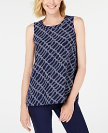 Anne Klein Printed Sleeveless Tunic Blouse
