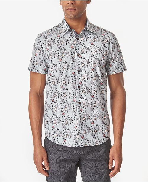 Tallia Men's Rose Micro Print Slim Fit Woven Shirt