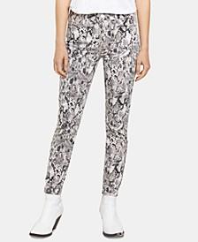 Snakeskin-Print Skinny Jeans