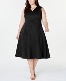 Calvin Klein Plus Size Midi Fit & Flare Dress