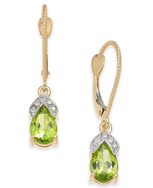 Macy's Peridot (1-3/4 ct. t.w.) & Diamond Accent Drop Earrings in 14k Gold