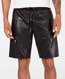 "I.N.C. Men's Scotty Faux Leather 10 3/4"" Shorts, Created for Macy's"