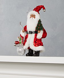 """8"""" African American Santa Ornament with Sequined Coat, Gifts & Tree, Created for Macy's"""