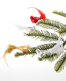 Christmas Cheer Mini Bird Glass & Feather Clip Ornaments, Set of 4, Created For Macy's