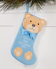Holiday Lane Baby's First Blue Teddy Bear Stocking Ornament, Created for Macy's