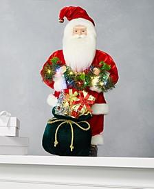 Santa with Gift Bag & LED Mistletoe Garland, Created for Macy's