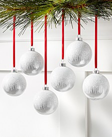 Shine Bright Set of 6 Shatterproof White Ornaments, Created for Macy's