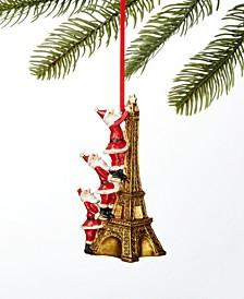 World Traveler Santa on Eiffel Tower Ornament, Created for Macy's