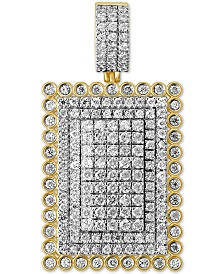 Diamond Pavé Dog Tag Pendant (3-5/8 ct. t.w.) in Sterling Silver & 14k Gold-Plate