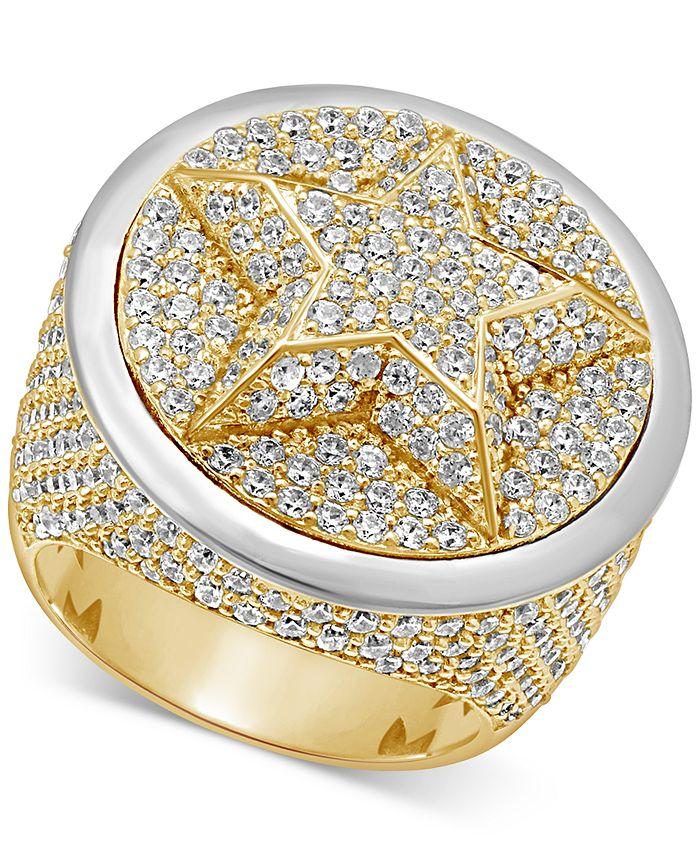 Macy's - Men's Diamond Pavé Star Cluster Ring (6-3/4 ct. t.w.) in 10k Gold & 10k White Gold