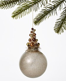 Holiday Lane Type Script Gold Ball Ornament, Created for Macy's