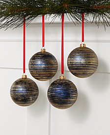 Midnight Blue Set of 4 Blue and Gold Shatterproof Ornaments, Created for Macys