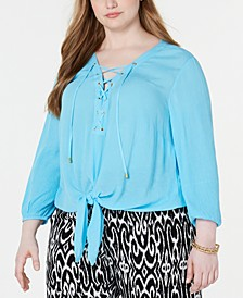 INC Plus Size Lace-Up Tie-Front Top, Created for Macy's