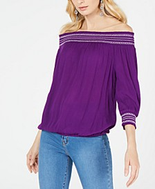 INC Crochet-Trim Off-The-Shoulder Top, Created for Macy's