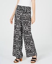 I.N.C. Petite Ikat-Print Crinkle Gauze Pants, Created for Macy's