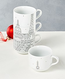Holiday Cityscape Stackable Mugs, Set of 4, Created for Macy's