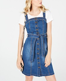 I.N.C. Denim Overalls Dress, Created for Macy's