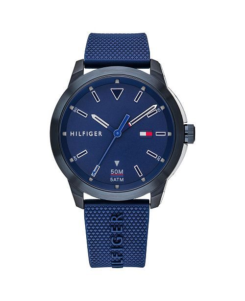 Tommy Hilfiger Mens Blue Silicone Strap Watch 42mm , Created for Macys