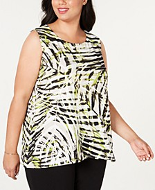 Plus Size Sleeveless Printed Top